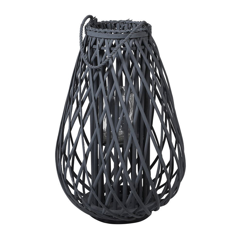 Small dark grey willow  lantern with rope handle