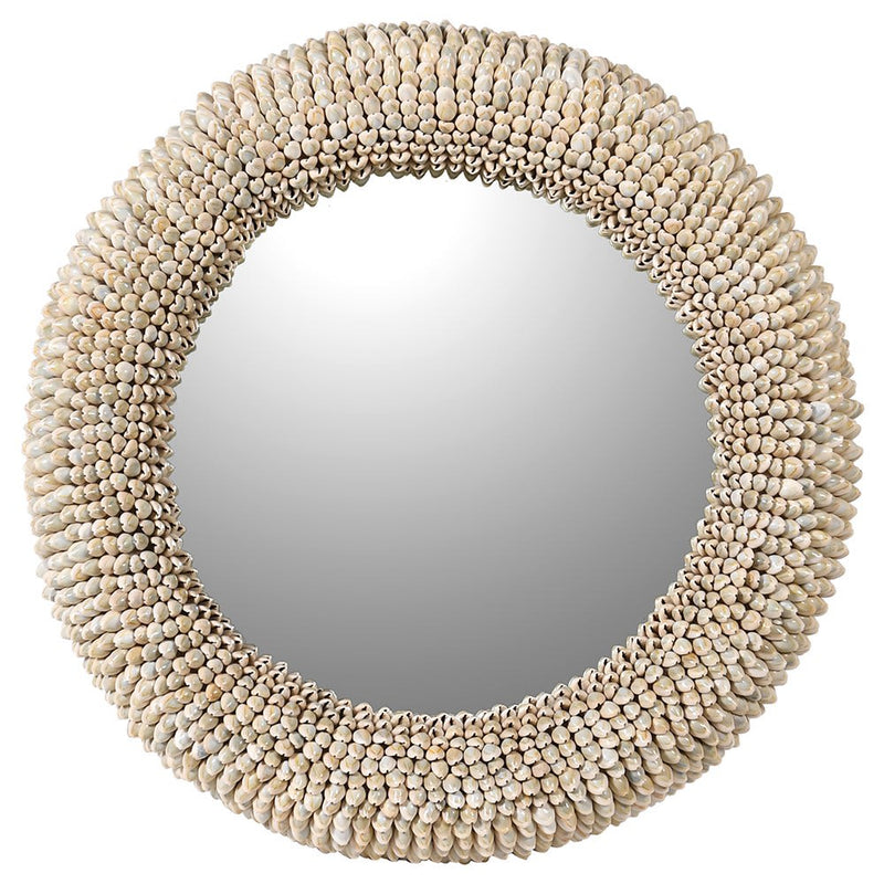 Natural shell round wall mirror