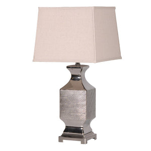Silver Patterned Table Lamp With Shade