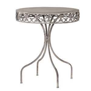 Grey wash metal round table