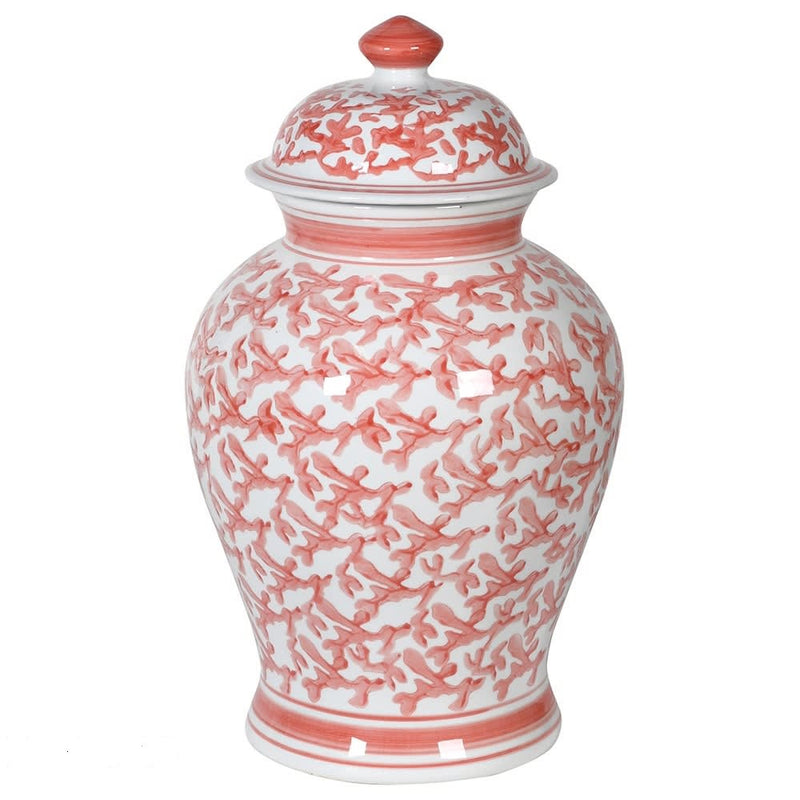 Decorative Coral Patterned Ginger Jar