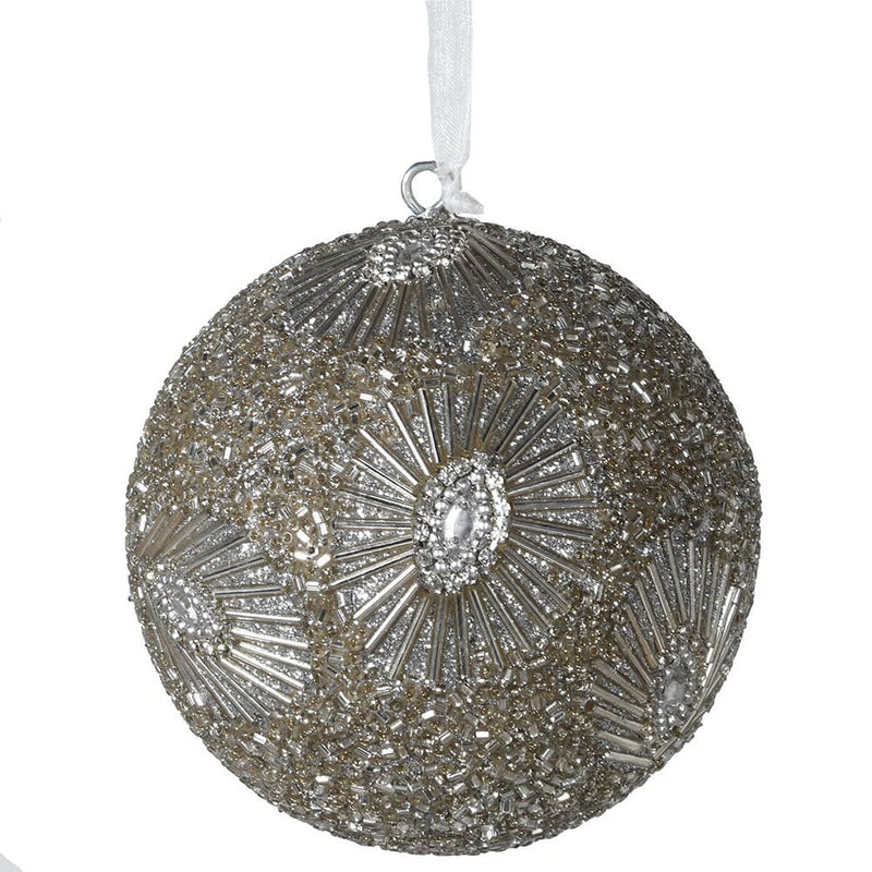 Silver Burst Beaded Bauble