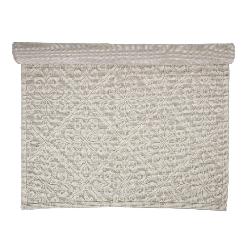 White and natural cotton rug