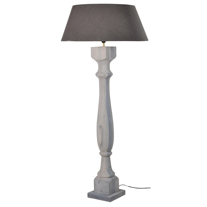 Chunky grey wash wooden floor lamp with shade