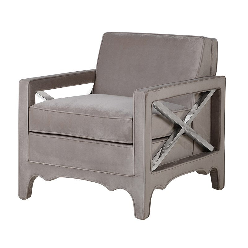 Square taupe velvet and chrome arm chair