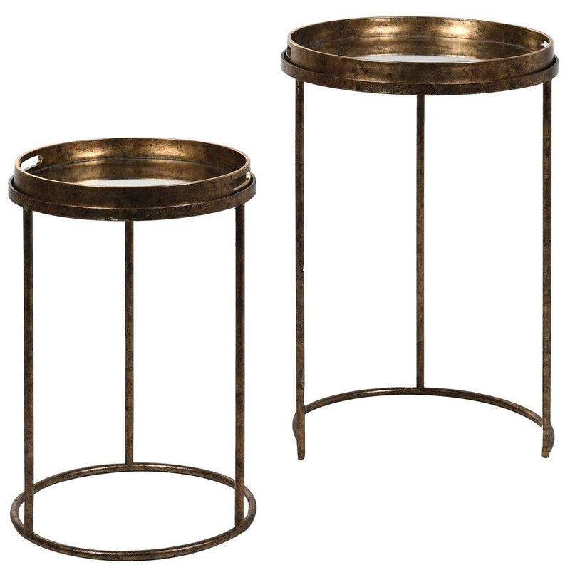Set of 2 antiqued mirror round tables