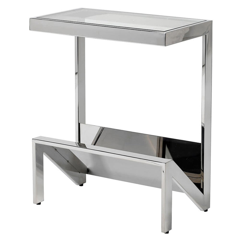 Stainless and glass magazine side table