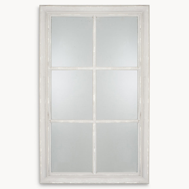 Grey distressed window mirror