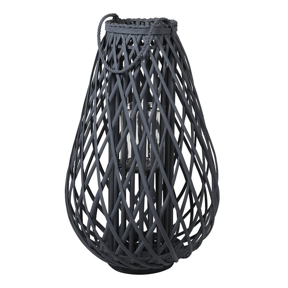 Large dark grey willow lantern with rope handle