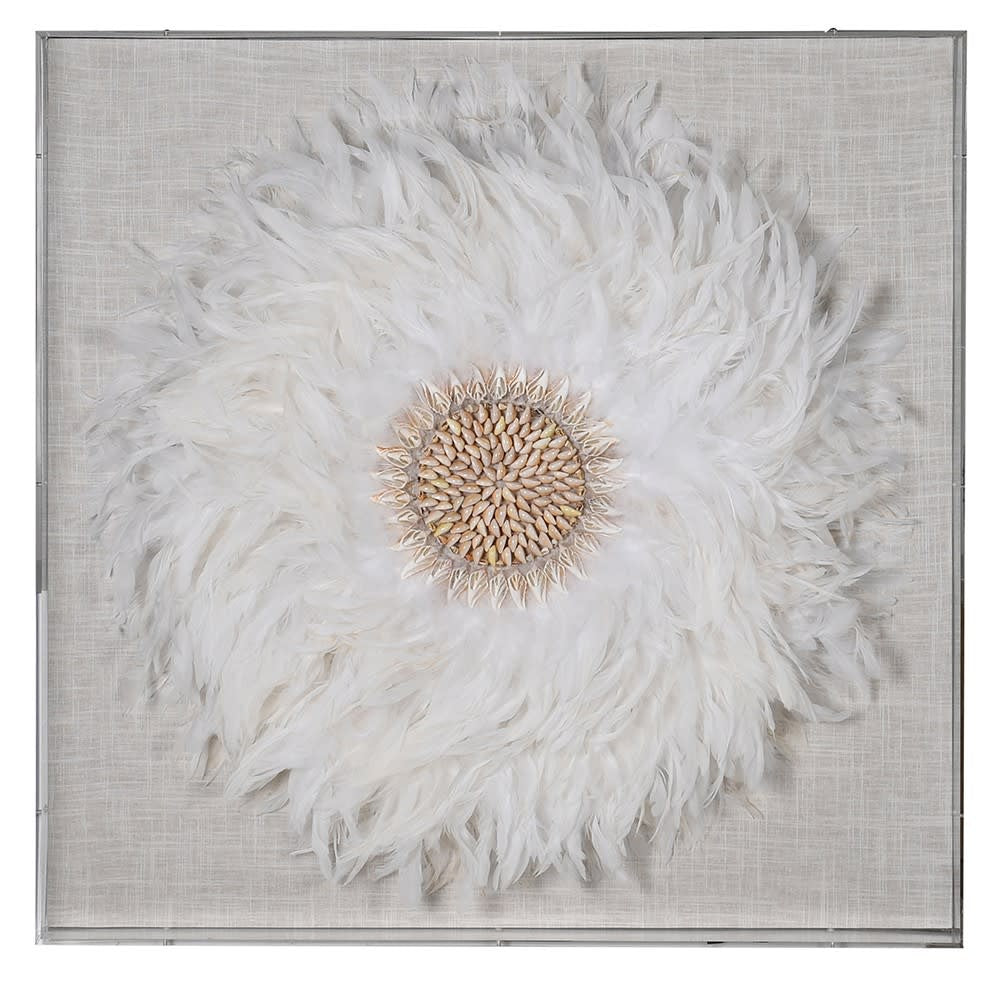 Feather and shell wall art