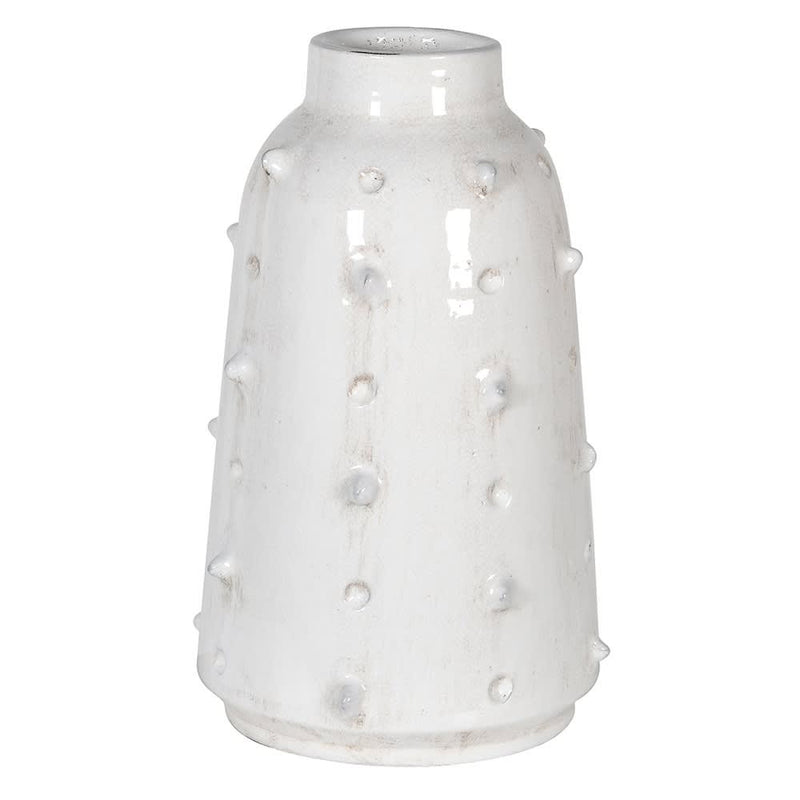 White Distressed Spikey Vase