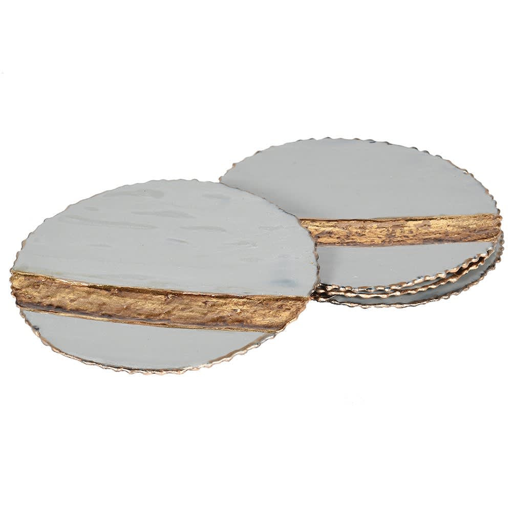 Set of 4 grey enamel coasters with gold stripe