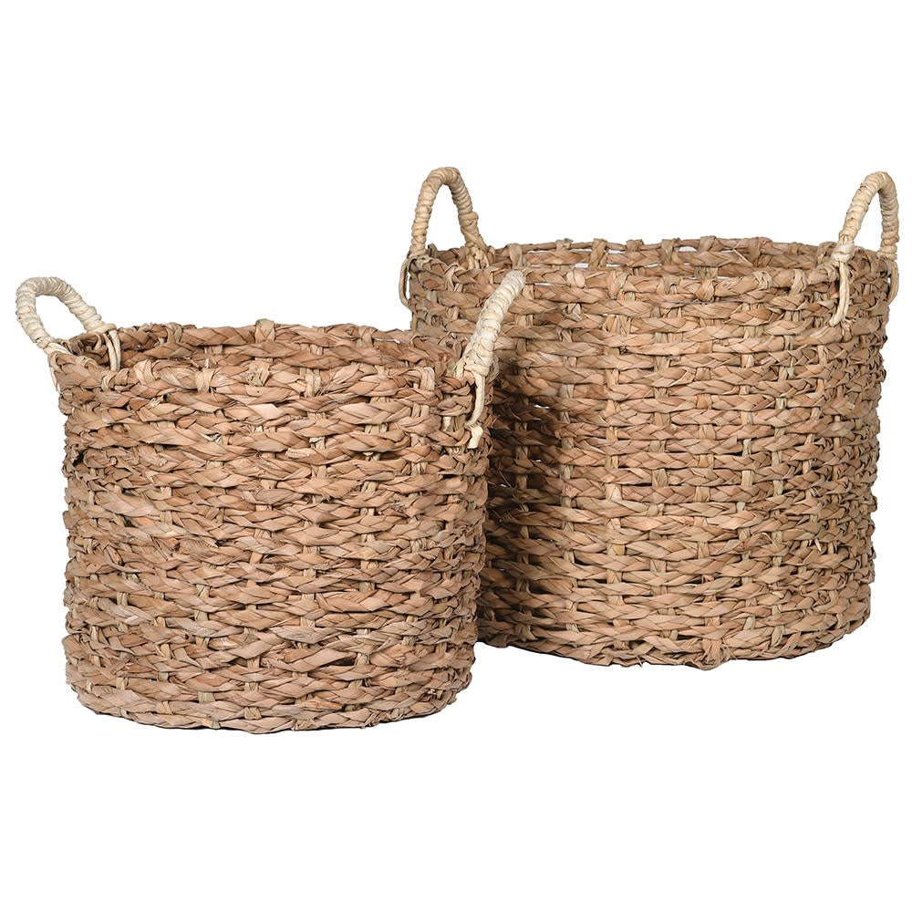 Set of 2 round seagrass baskets