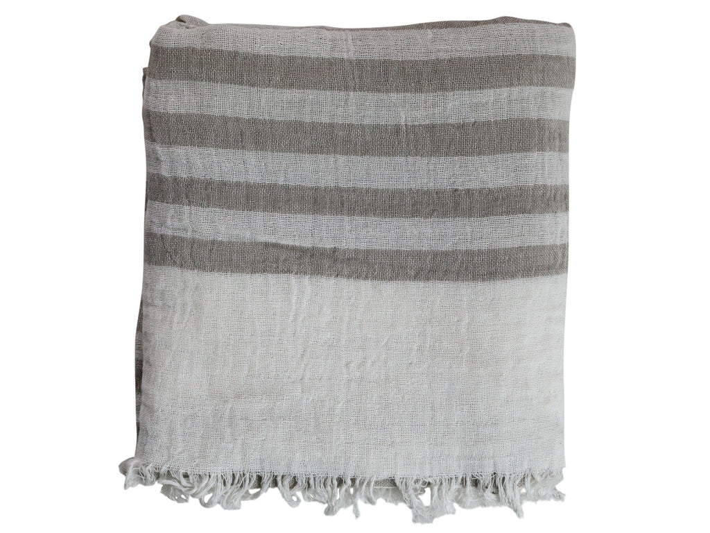 White And taupe Stripe Throw