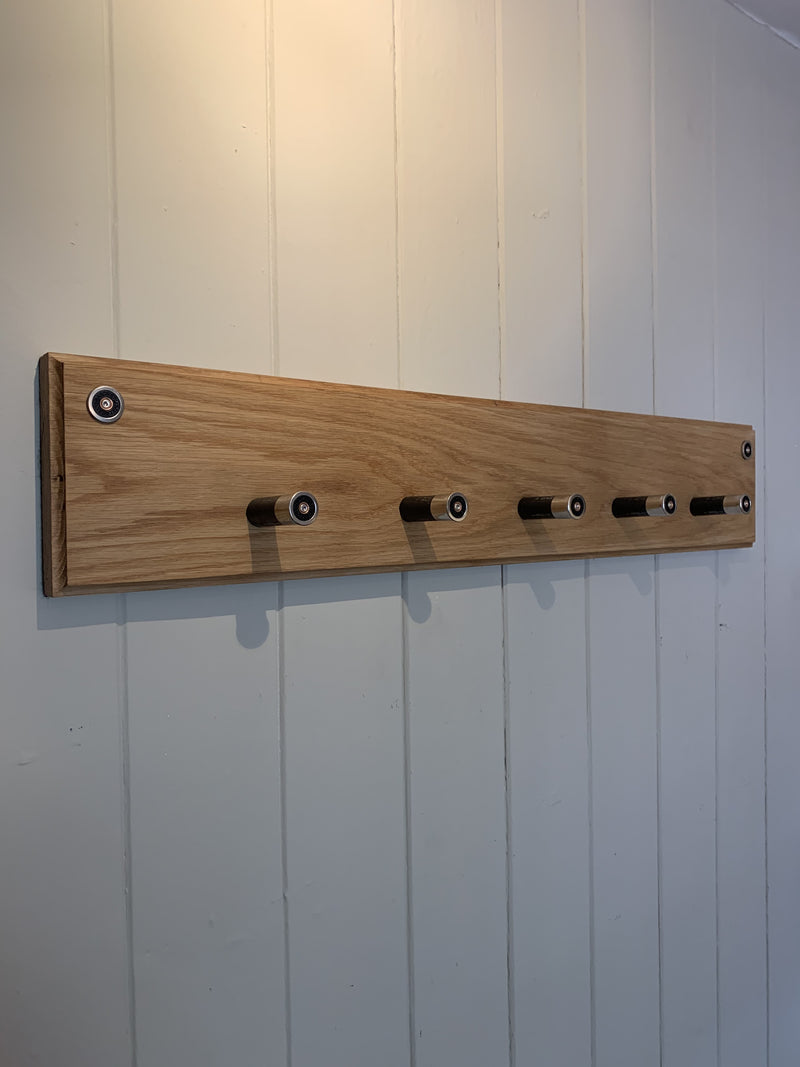 Handmade gun cartridge oak hanger