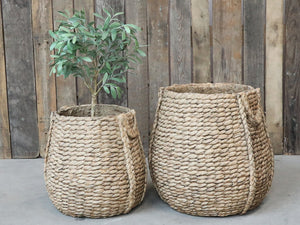 Braided cement flower pot