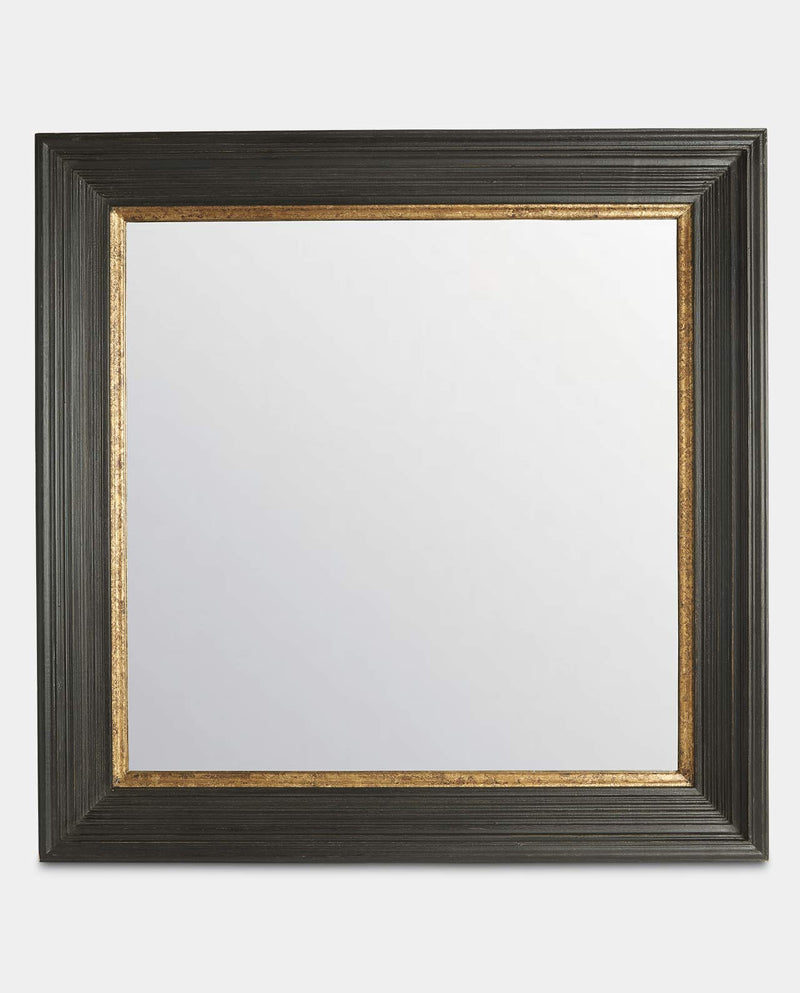 Black And Antique Gold Square Mirror