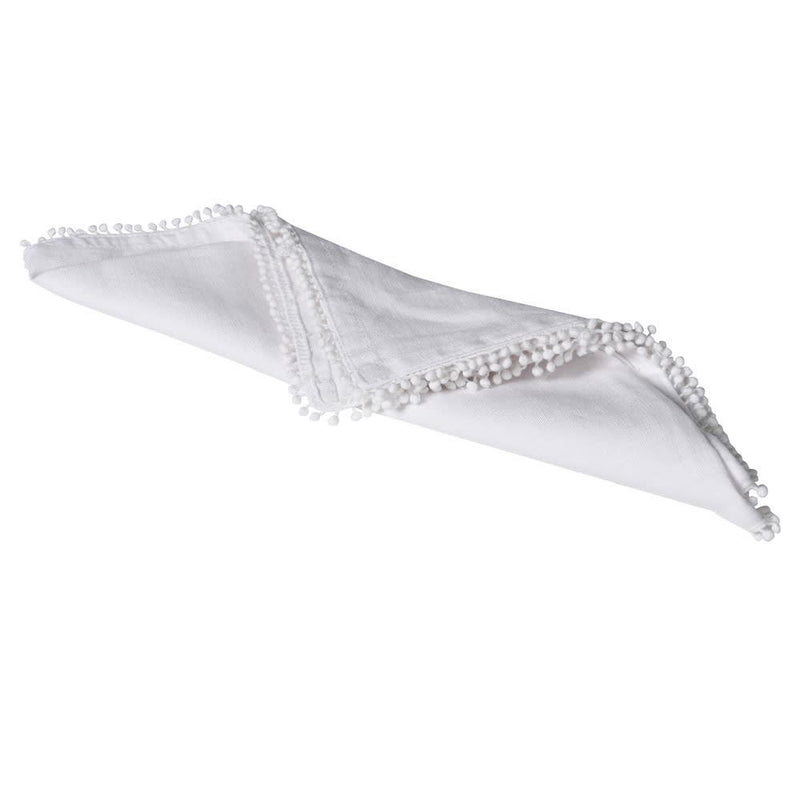 Set of 4 white bobble edge napkins