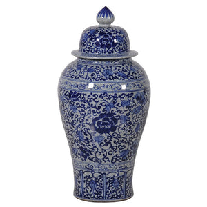 Small blue and white urn
