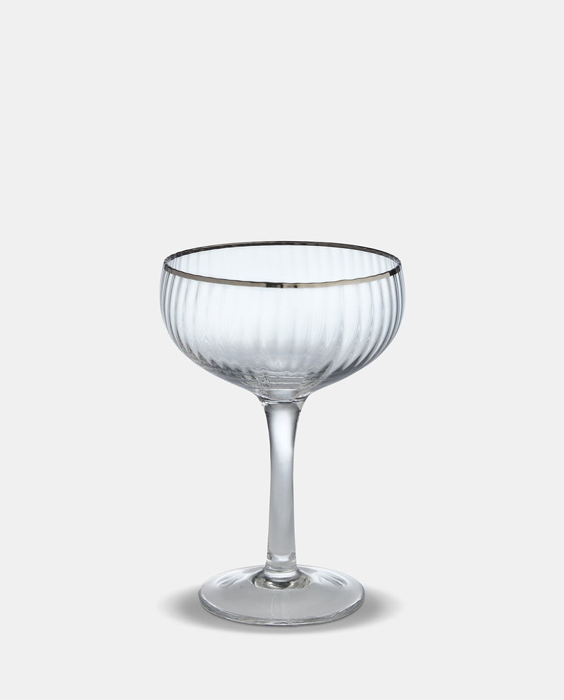 Set Of 4 Silver Rim Coupe Glasses