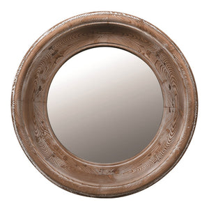 Round Wooden Chunky Mirror