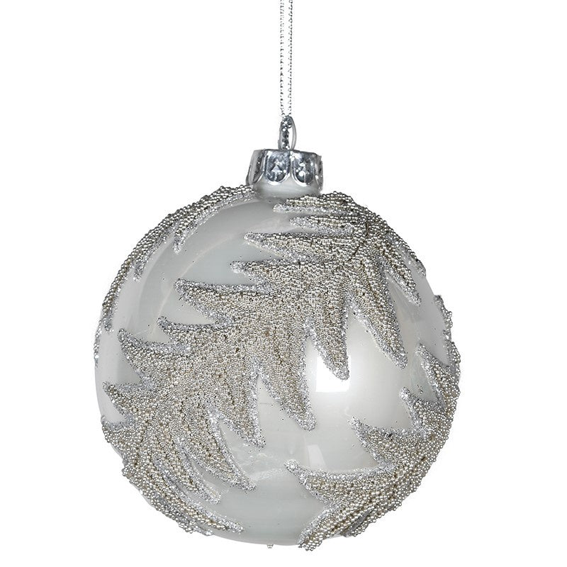 Fern Glitter White Bauble