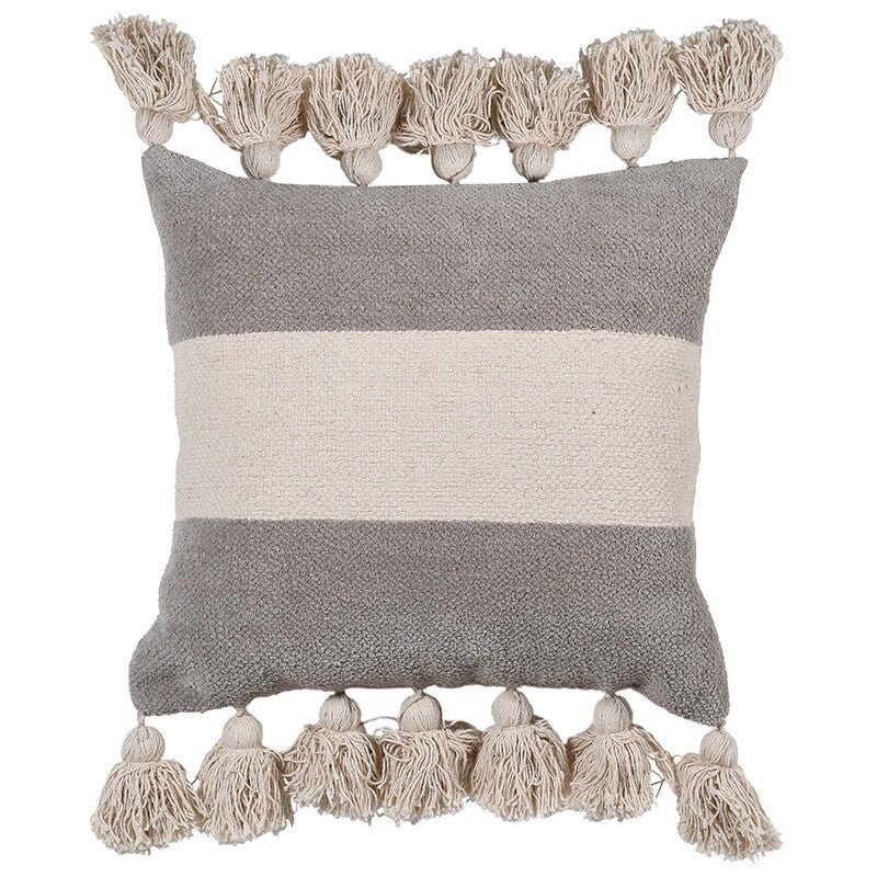 Natural chenille cushion with chunky tassels