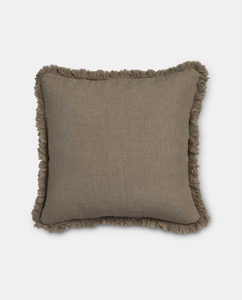 Natural linen cushion with fringe detail