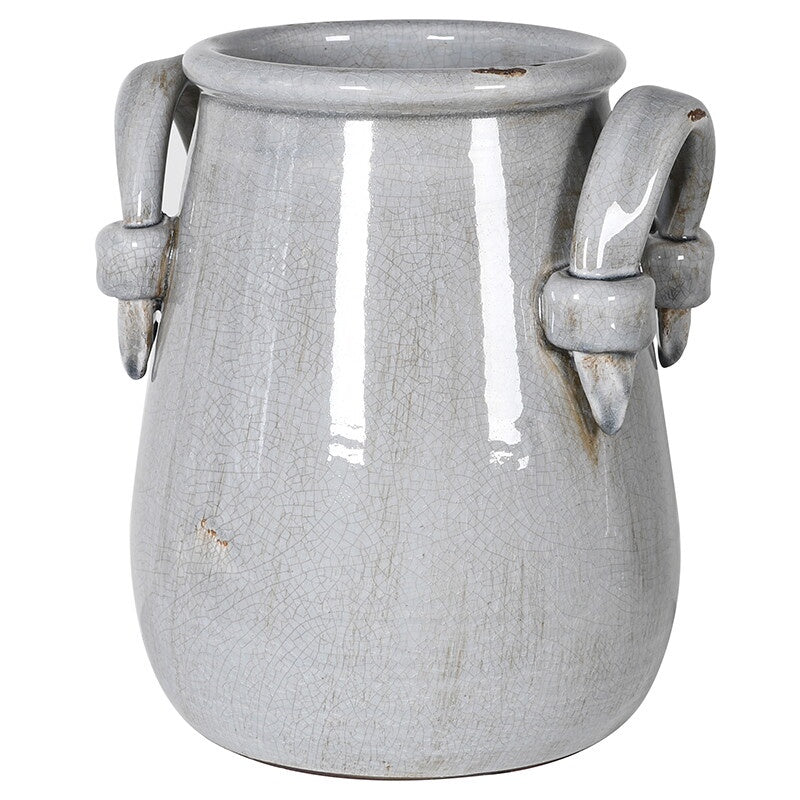 Grey ceramic urn with handles