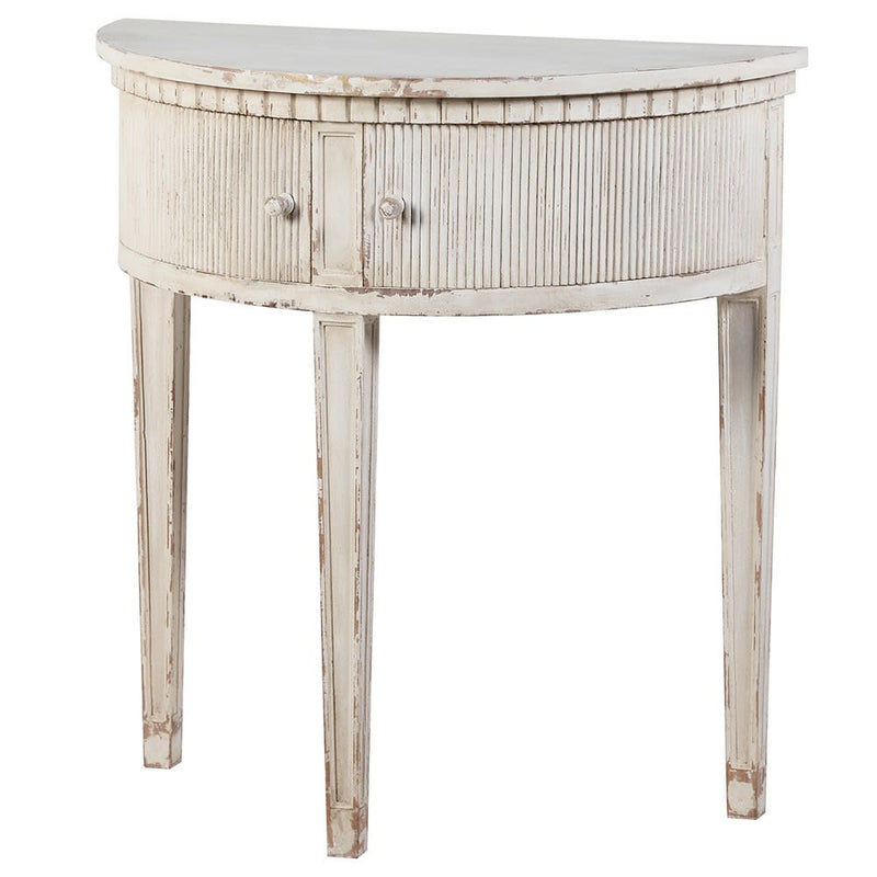 Distressed wooden half round table