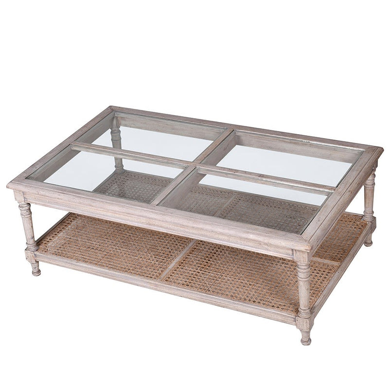 Washed wooden and glass coffee table