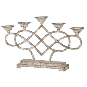 Distressed cream metal candle holder