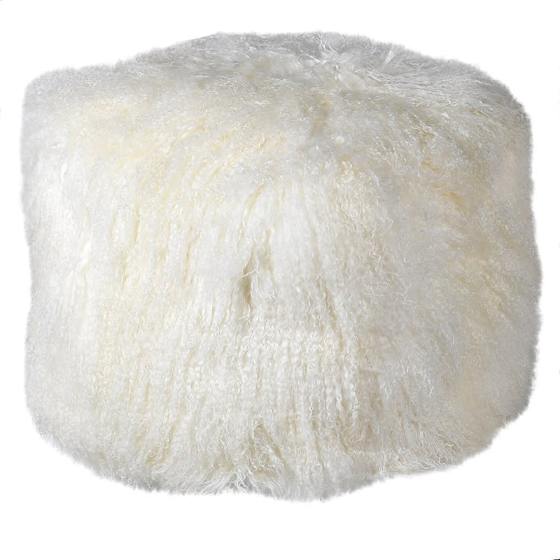 Winter White Tibetan Lamb Fur Pouf