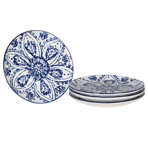 Set of 4 small blue and white plates