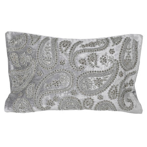 Grey paisley Bead Velvet cushion