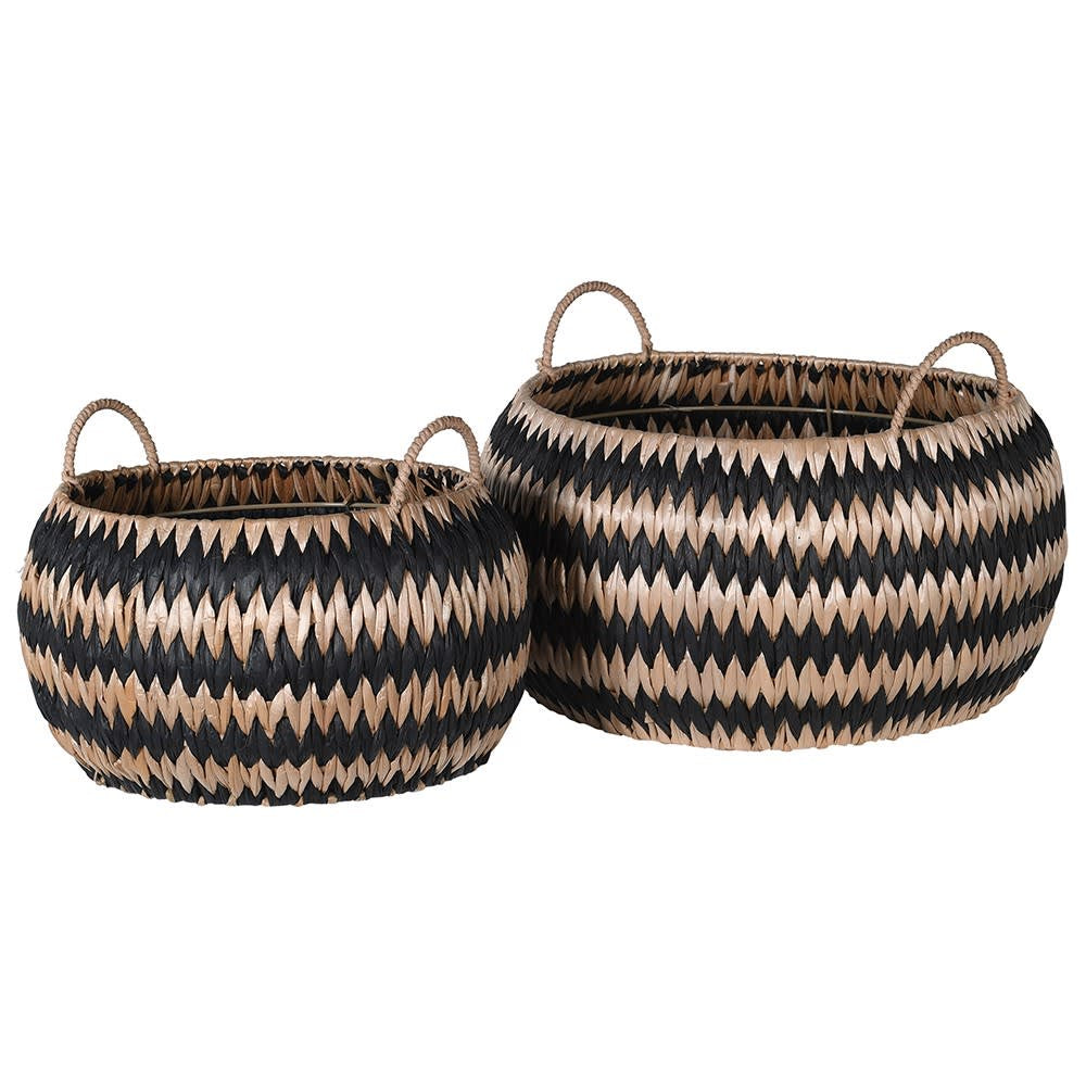 Set of 2 black and natural zig zag baskets