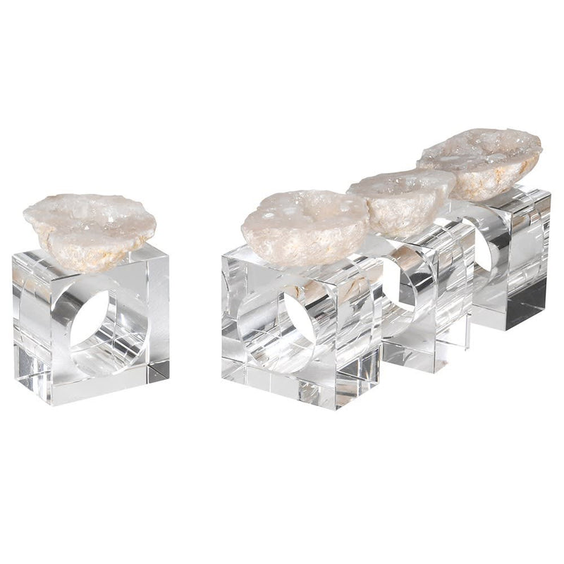 Set Of 4 Natural Quartz Geode Napkin Rings