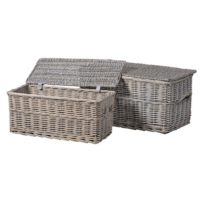 Set of 2 grey wicker trunks