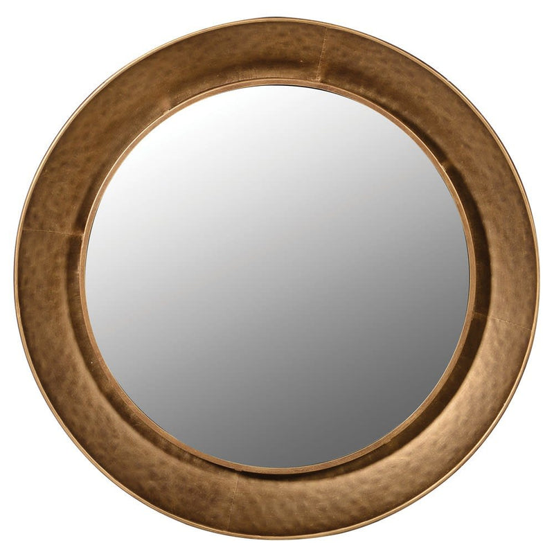 Gold hammered metal round mirror