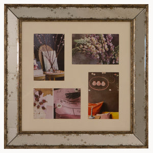 Antiqued glass 4 aperture photo frame