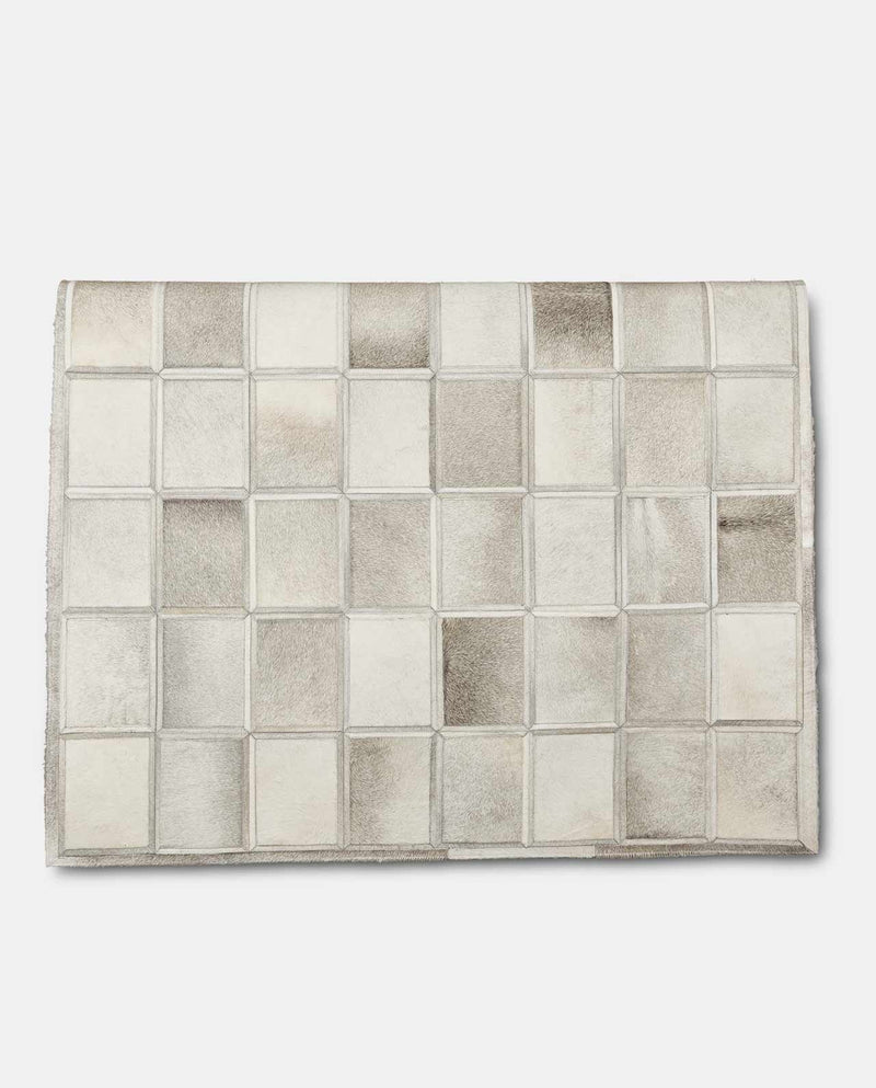 Grey Squares Cowhide Leather Rug