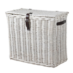 White wash lidded basket
