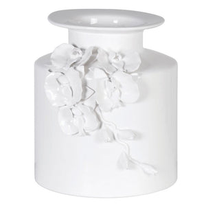 White vase with floral decor