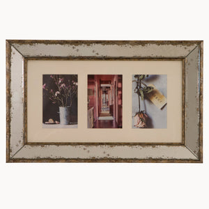 Antiqued glass 3 aperture photo frame