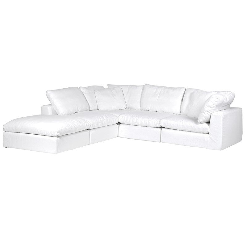 White corner sofa with footstool