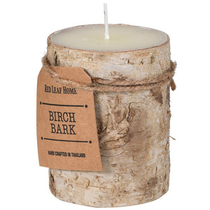 Birch bark covered  candle