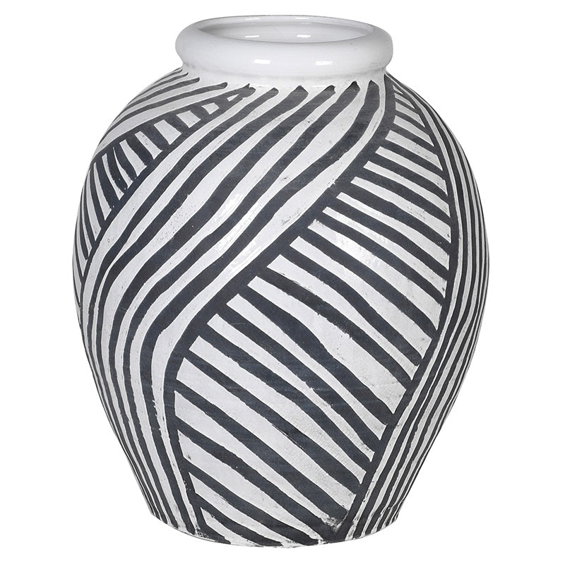 Grey and white stripe vase