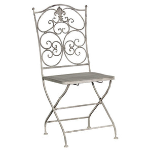 Grey wash metal folding chair