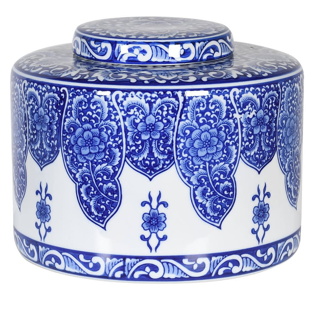 Blue and white patterned jar with lid