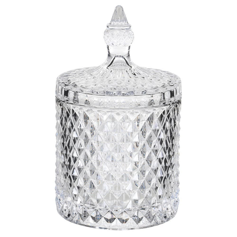 Medium cut glass lidded jar